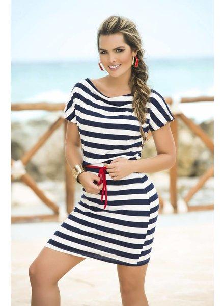 Espiral Lingerie Blauw/wit gestreept jurkje