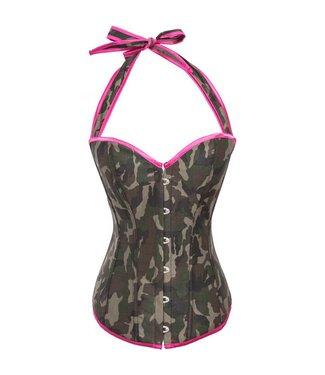 Halter corset met legerprint