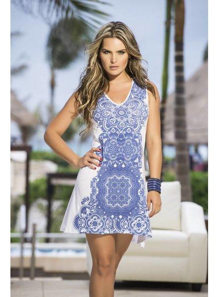 Espiral Lingerie Wit jurkje met blauwe print