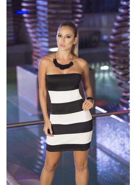 Espiral Lingerie Zwart/Wit gestreepte strapless jurk