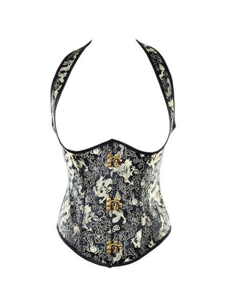 Corsetten Zwart underbust (halter) corset met gouden print