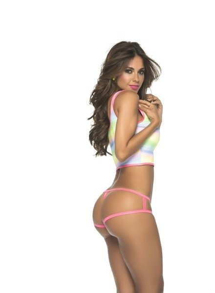 Espiral Lingerie Cage slip/panty (rainbow print)