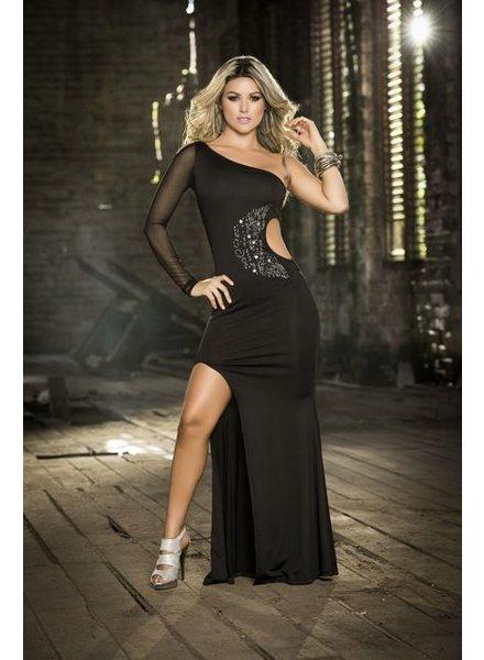 Espiral Lingerie Glanzend zwarte lange jurk