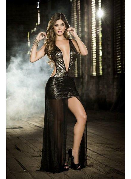 Espiral Lingerie Zwart/gouden lange jurk