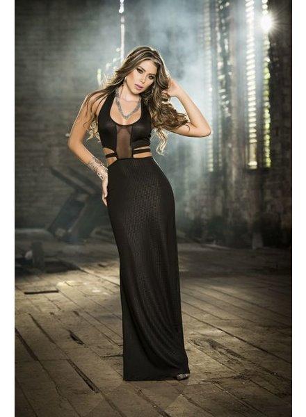 Espiral Lingerie Lange zwarte jurk met split