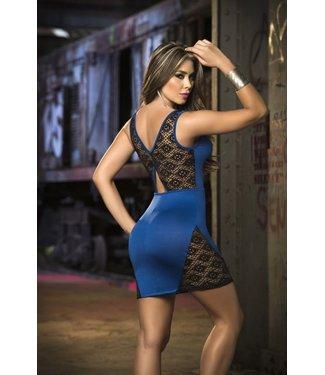 Espiral Lingerie Blauwe tank jurk met kant