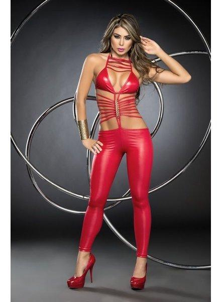 Espiral Lingerie Sexy rood wetlook jumpsuit
