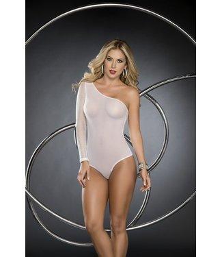 Espiral Lingerie Wit bodysuit met visnet-look mouw