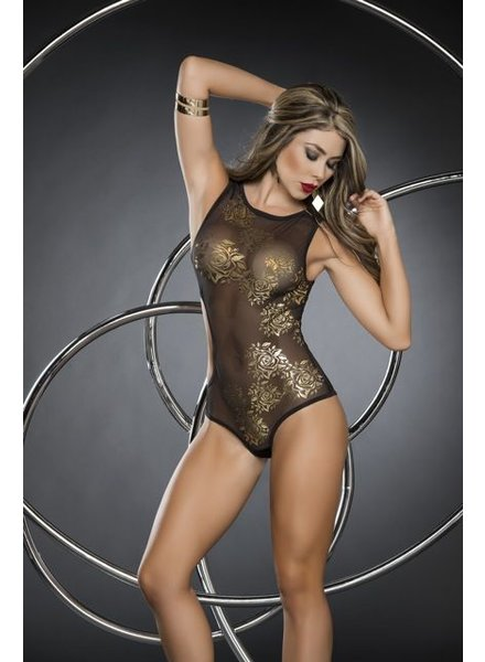 Espiral Lingerie Zwart bodysuit met gouden rozenprint