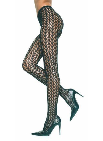 Music Legs Zwarte open bewerkte panty (naadloos)