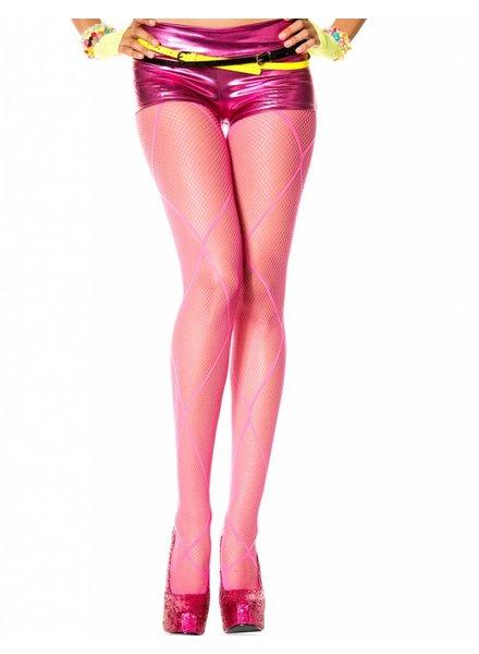 Music Legs Roze visnet panty met diamant design