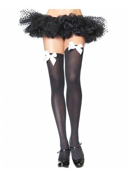 Music Legs Zwarte kous met witte strik