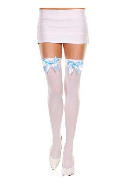 Music Legs Witte kous met lichtblauwe strik