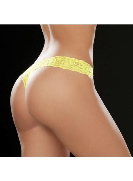 Espiral Lingerie Sexy kanten string (hot yellow)