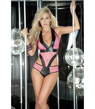 Espiral Lingerie Sexy net teddy met open details (hot pink)