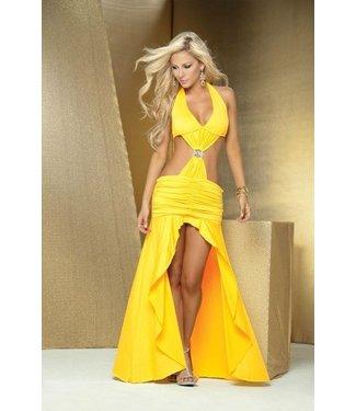 Espiral Lingerie Sexy gele lange halter jurk