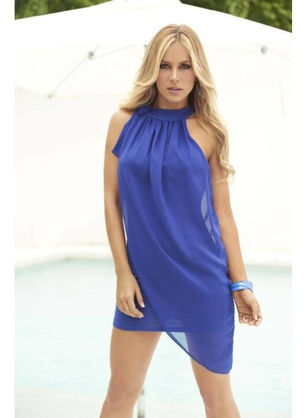 Espiral Lingerie Elegant gedrapeerd blauw jurkje
