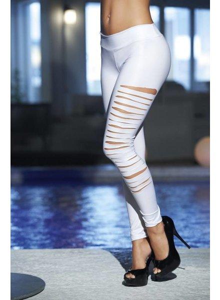 Espiral Lingerie Witte wetlook legging met scheuren