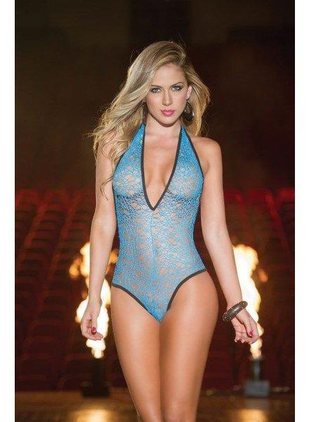 Espiral Lingerie Sexy turquoise halter bodysuit