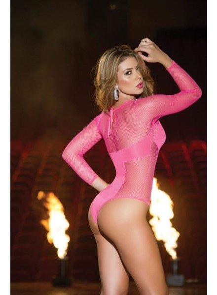 Espiral Lingerie Bodysuit met lange mouw (hot pink)