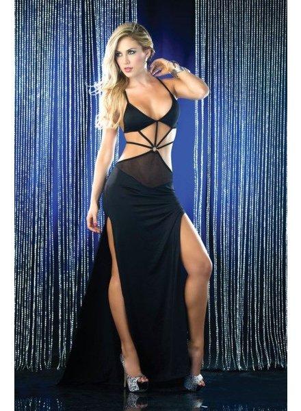 Espiral Lingerie Zwart sexy open lange jurk