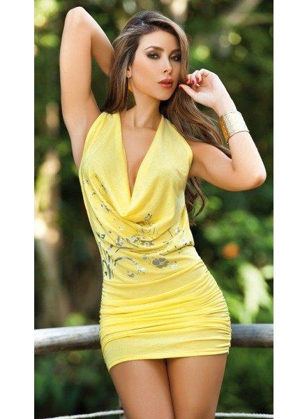 Espiral Lingerie Geel halter jurkje met open rug en kettinkje