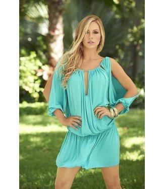 Espiral Lingerie Turquoise jurkje met open schouders en mouwen