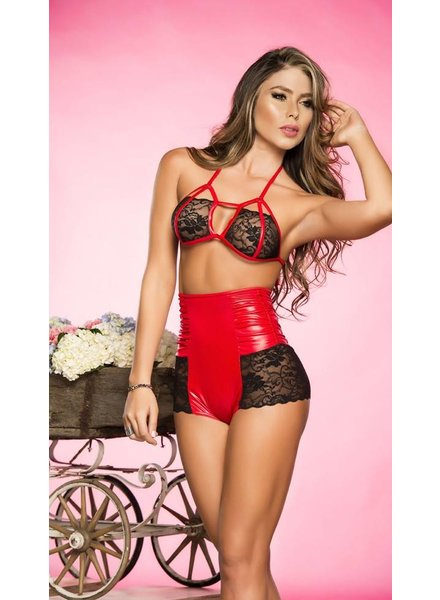 Espiral Lingerie Zwart/rood vinyl lingerie setje