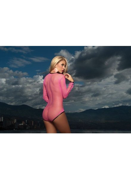 Espiral Lingerie Sexy hot pink net bodysuit