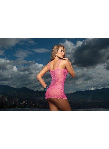Espiral Lingerie Sexy hot pink net mini jurkje