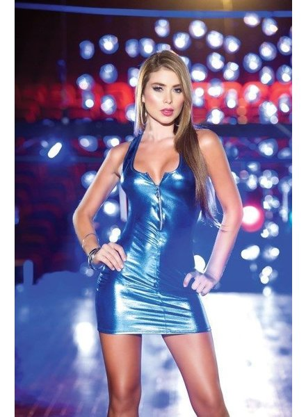 Espiral Lingerie Latex-look jurkje (metallic blue)