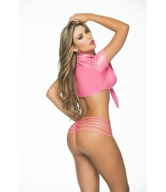 Espiral Lingerie Strappy panty (wetlook pink)