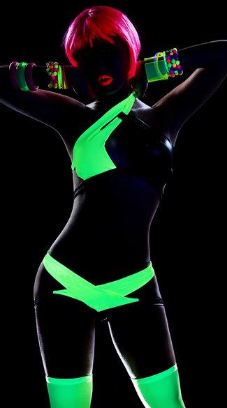 Espiral Lingerie Blacklight setje zwart/groen