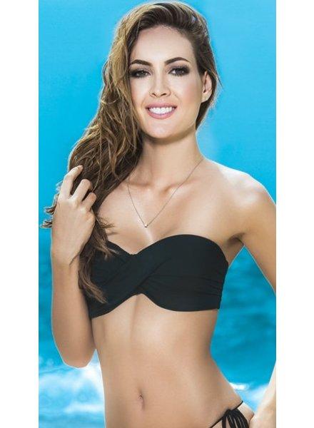Espiral Lingerie Bandeau bikini top (zwart)