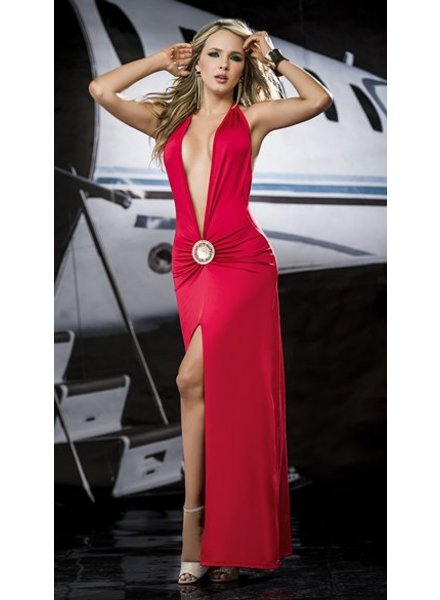 Espiral Lingerie Lange rode halter jurk