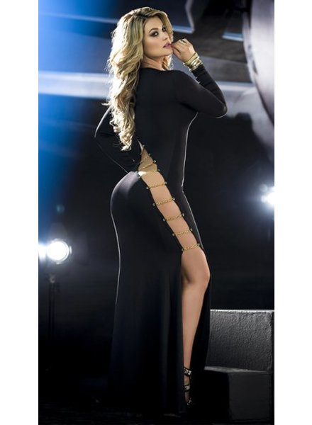Espiral Lingerie Zwarte lange jurk met open zijkant