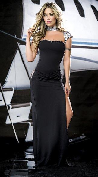 Zeer Espiral Lingerie Zwarte lange jurk - ClassyWear #IM61