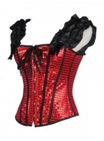 Rood glitter corset met mouwtjes