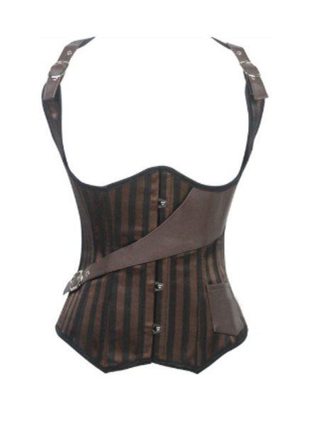Bruin gestreept corset gilet