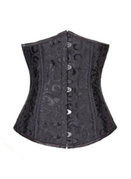 Zwart underbust corset met motief
