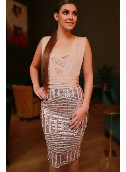 Wikkel jurk rosé goud (multi draagbaar)