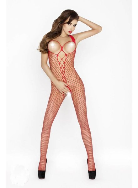 Passion Open cup bodystocking (rood)