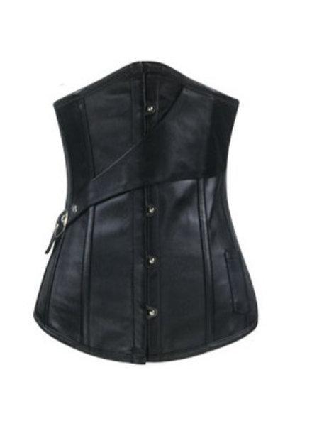 Zwart leatherlook underbust corset