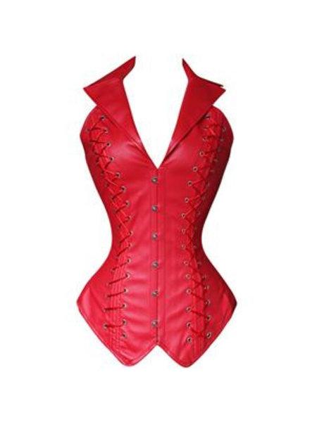 Rood leatherlook corset met kraag