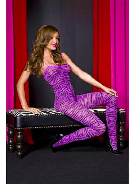 Music Legs Paarse bodystocking 'zebra'