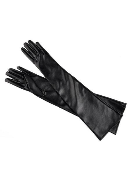 Zwarte leatherlook handschoenen