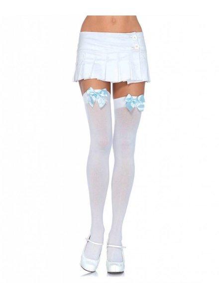 Music Legs Witte netkous met blauwe strik