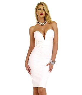 Forplay Witte strapless midi jurk