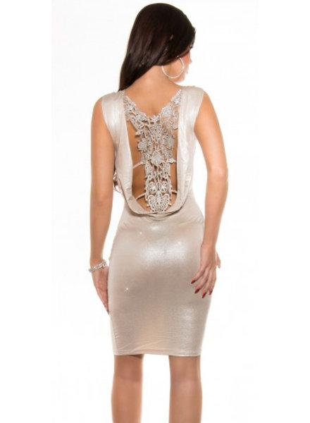 Metallic jurkje met gehaakte open rug (beige)