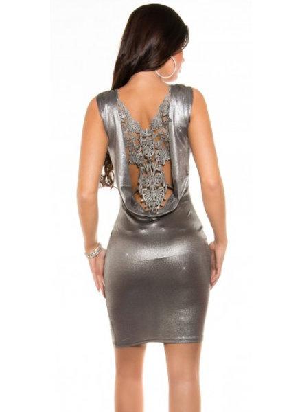 Metallic jurkje met gehaakte open rug (silver)